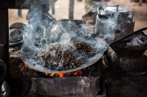 Roasting coffee beans traditional Ethiopia