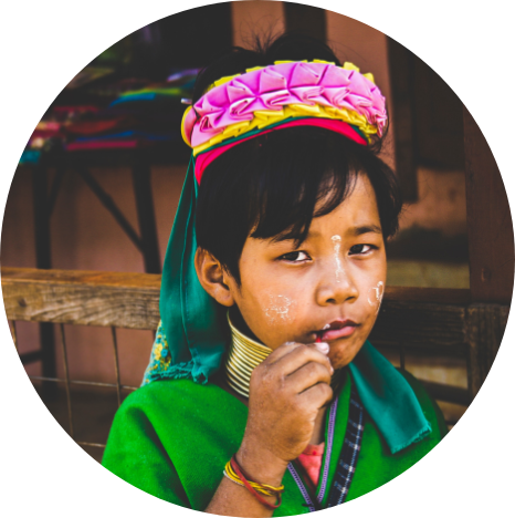 Kayan child in traditional dress in Myanmar