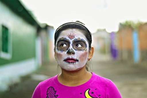 Local girl with day of the dead facepaint