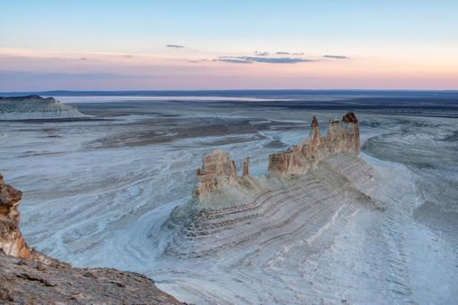 Ustyurt Plateau Mangistau Kazakhstan canyons at sunset
