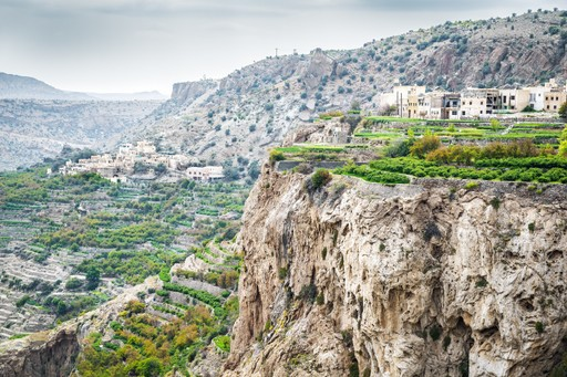 Jebel Akhdar is part of the Al Hajar Mountains range in Oman
