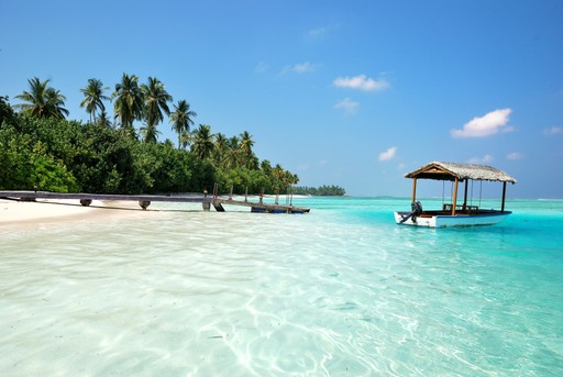 Maldives beach and boat