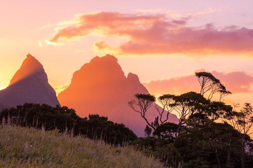 Mauritius mountains sunset