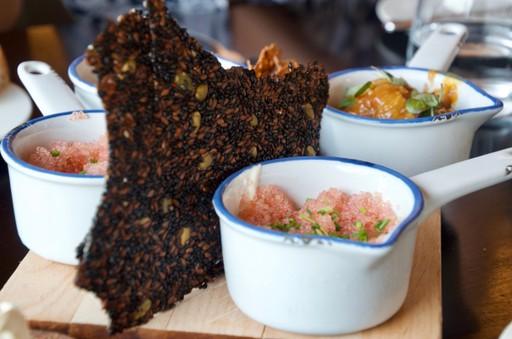 Icelandic cuisine of roe and black bread