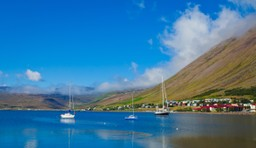 Boats in Icelandic Fjord in summer