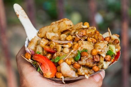 Aloo Chana Chaat, street food in India