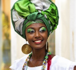 African Cuban lady with colourful headwear