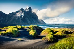 Black sand dunes and mountains in Iceland