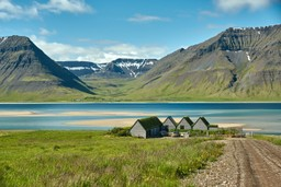 Houses by Icelandic fjord
