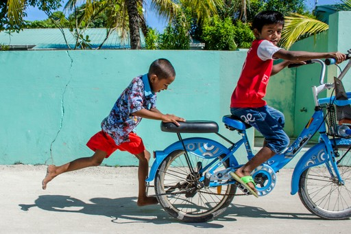 Children playing in Male, Maldives