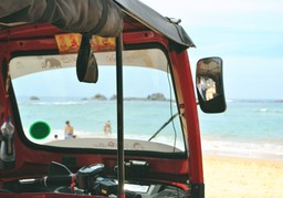 Admiring the beach from a tuk tuk