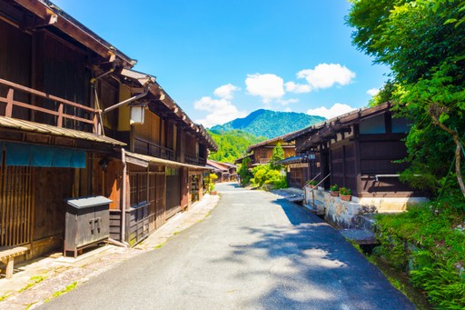 Street through Tsumago on the Nakasendo Trail, Japan