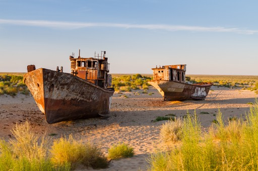 The dried up Aral Sea in Uzbekistan