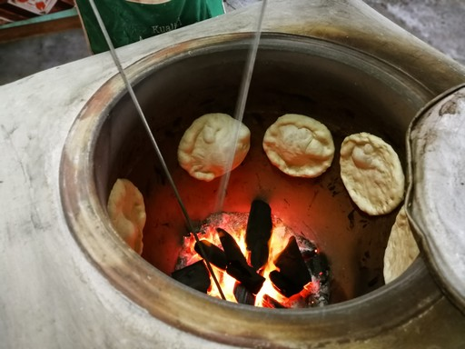 Naan breads being made in India