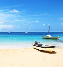 Boats at Little Corn Island Beach, Nicaraguan Caribbean Sea