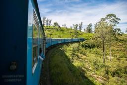 The blue train travelling through a tea plantation in Ella