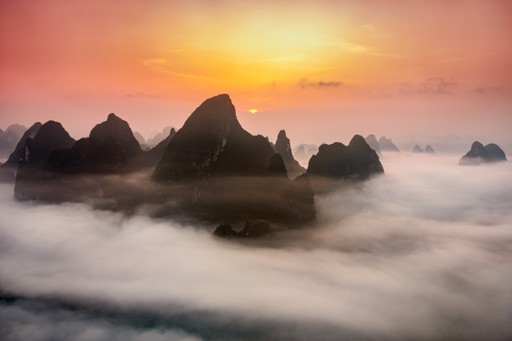 Sunrise in Guilin district, China
