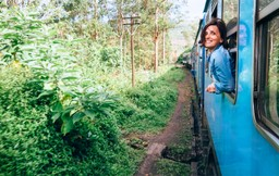 Lady on the train through the tea plantations