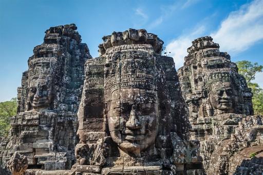 Angkor temples bayon faces