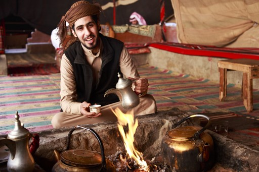 Bedouin man in tent