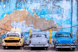 Old cars parked in Havana, Cuba