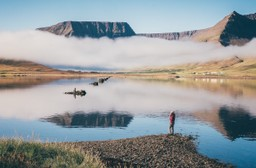 Sunrise by the fjords in Iceland