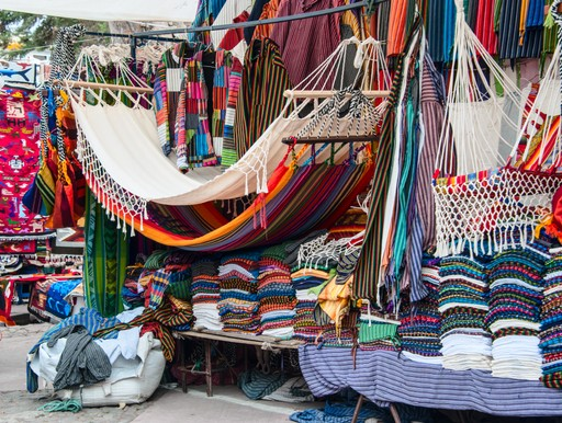 Hammocks and clothes in Otavalo market