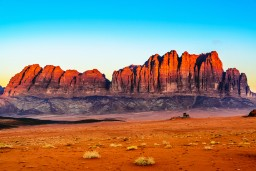 Jebel Qatar Mountain in Wadi Rum, Jordan at early-morning.