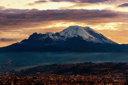 Sunset on Mount Chimborazo and the Carihuairazo Ecuador