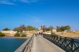 Crossing the bridge at seashell island, Senegal