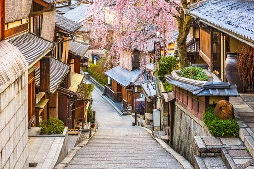 Street of the Higashiyama District, Kyoto, in spring