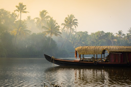 Houseboat on a Kerala river, India