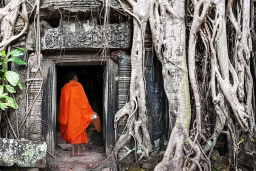 Monk in Angkor, Cambodia