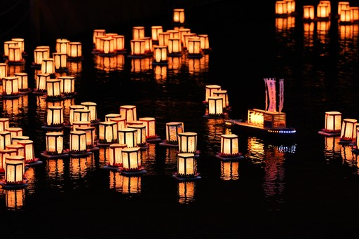 Lanterns lit for ancestors during O-bon period