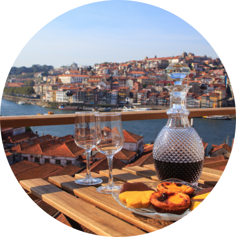 Port and snacks in Portugal