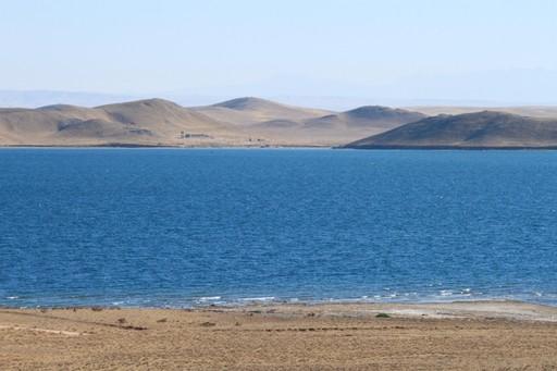 The calm waters of Aydar Lake in Uzbekistan