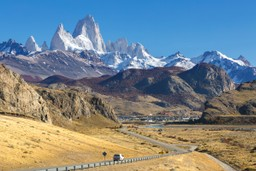 Driving towards the Fitz Roy Mountains