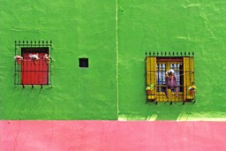 Colourful walls of La Boca in Buenos Aires