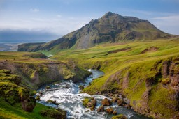 The view from above Skógafoss waterfall