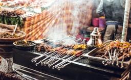 Moroccan street food, kebab skewers
