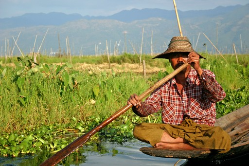 Farmer on Inle Lake, Myanmar