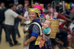 Local woman and baby in Vietnam