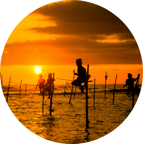 Fishermen in Sri Lanka at sunset