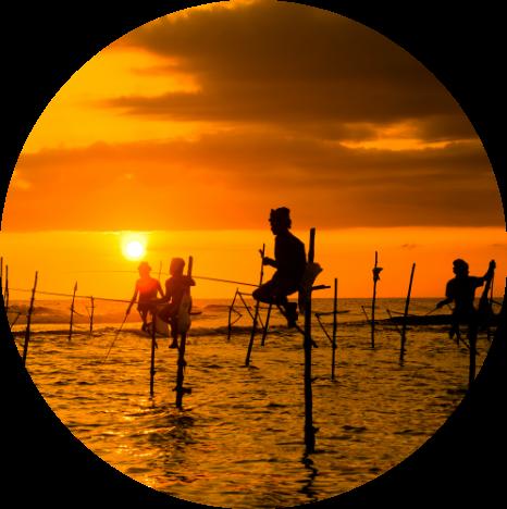 Fishermen in Sri Lanka at sunset