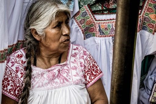 Local woman at Mexico market stall