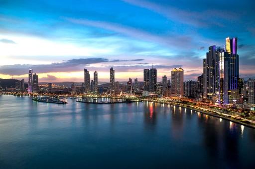 Panama City panoramic at sunset